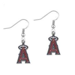 Wholesale Los Angeles Angel Alloy With Enamel Charms Earring Enamel Baseball Team Logo Pendant Earring Fashion New Design Drop Earrings For Sport Fans