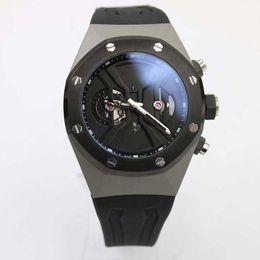 Wholesale - mens Brand Quartz chronograph Watch Men Black Dial Black Rubber Band Transparent Glass Back Off-shore Mechanical Casual Watch