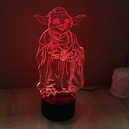 Promotion énergie ups 3D LED Guerra De Las Galaxias YODAMaster Light-Up Toys Chambre réglable Gradient coloré Lampe d'économie d'énergie Lampe d'ambiance pour Noël