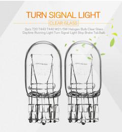 2pcs T20 7443 7440 W21 5W Halogen Bulb Clear Glass Daytime Running Light Turn Signal Light Stop Brake Tail Bulb DRL Bulbs 3800K