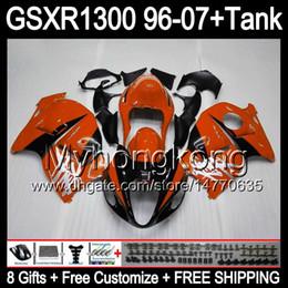 8gift Pour SUZUKI Hayabusa GSXR1300 96 97 98 99 00 01 orange brillant 13MY223 GSXR 1300 GSX-R1300 GSX R1300 02 03 04 05 06 07 TOP noir Carénage à partir de 98 gsxr carénage orange noir fournisseurs