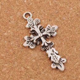Beautiful Flower Cross Knot Infinity Cross Charms Pendants 60pcs lot 25x47.5mm Antiqued Silver Fashion DIY Jewelry L442