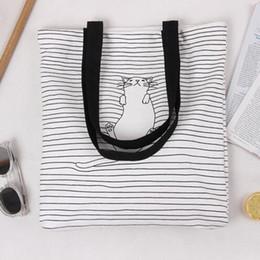 Sieste chat en Ligne-Vente chaude 2017 mignons rayés Napping chat coton sacs à main de haute qualité Eco quotidienne femelle sacs à épaule unique shopping femmes sacs de plage