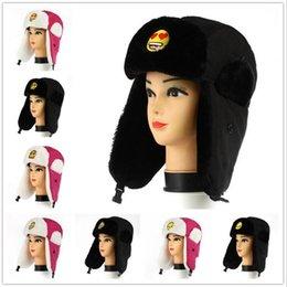 Descuento sombreros trampero Emoji Trapper Sombreros QQ patrón de expresión Warm orejeras Muffs Caps Mujeres Hombres Lovers Moda Invierno Caps