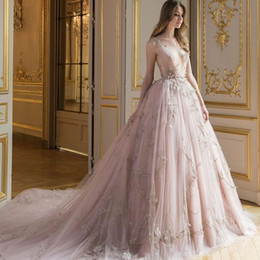 Elegant Blush Pink Evening Dress With Applique Deep V-Neck Sleeveless Tulle Long Formal Evening Gowns Charming See Through Red Carpet Dress