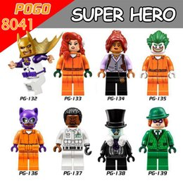 2017 Newest 8pcs lot PG8041 Super Hero Marvel Prison Poison Ivy Uniform Barbara Gordon Catwoman Aaron Riddles Building Blocks Baby Toys Gift