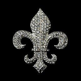 "2"" Vintage Silver Clear Rhinestone Fleur De Lis Brooch S"