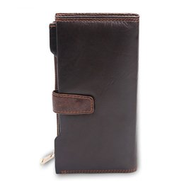Wholesale HOT SALE Vintage Top layer Oil wax cowhide leather Bifold Long Hsap zipper Card Wallet High specification Clutch bag Purse for male