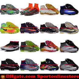 Wholesale Mens Football Boots Neymar Hypervenom Phantom JR Magista Obra Mercurial x EA SPORTS Superfly CR7 FG Soccer Cleats High Ankle Soccer Shoes