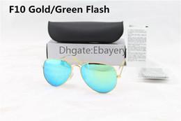 Lente de espejo en venta-5pcs de alta calidad Hombre Womens Designer Pilot Gafas de sol Sun Gafas de Oro Flash Verde espejo de vidrio Lentes 58 mm 62 mm UV400 Protección Box Case
