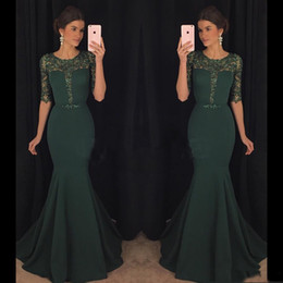 2017 Chic Dark Green Evening Dresses Kaftan Abaya Middle East Saudi Arabia Indian Lady Mermaid Prom Dresses Dress for Party Wear Plus size