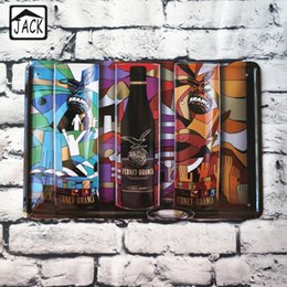 Wholesale Abstract Painting Beer Wine Vintage Poster Metal Tin Signs X30CM Iron Plate Wall Decor Plaque Club Home Bar Shop Cafe Gallery