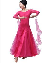 New Adult Ballroom Dance Dress Modern Waltz Standard Competition practice Dance Dress Red Rose Black Sexy strapless Long Sleeve Lace Dress