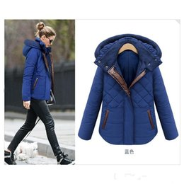 Wholesale 2 Colors Winter Women Down Cotton Jacket Leather Patchwork short Female Hooded Cotton Padded Fashion Warm Coat Overcoat Plus Size Bomber FS0