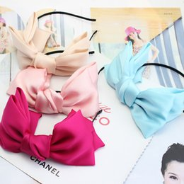 Wholesale Korean Large Hair Bands - Wholsale, Fashion Hair Accessory Black Hair Bands Large Ribbon Korean Hair Bow Headband For Women Free Shipping