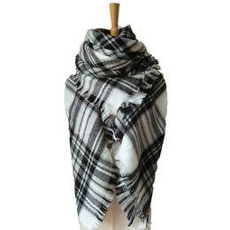 Mejores bufandas de moda en Línea-2016 Bufanda suave caliente de la manta de la tela escocesa de la manzana de la bufanda de Pashmina de la bufanda de las mujeres Bufandas grandes del mantón de la bufanda del tartán de las mujeres El mejor regalo de la Navidad
