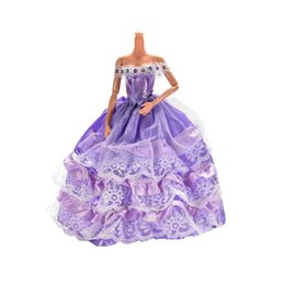 Wholesale 1 cm Purple Wedding Dress for Barbies Best Gift for Kids Play House Toys Fit for Doll Height Approx cm
