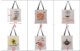 Halloween Bags Canvas Sacks With Handle Straps Pumpkin Devil Spider Bat Printed Bag Candy Gift Sack Kids Gift Bags Candy Sacks