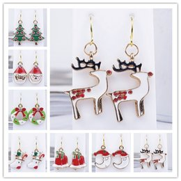 Wholesale Women Earrings Christmas Santa Claus Snowman Lovely Tree Bell Christmas Jewelry Earring For Women Best Gifts