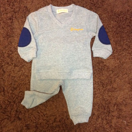Baby Boy Clothes Gray Long Sleeve Solid Casual Two Pieces Sets 4-24M Children Boy Girls Clothes