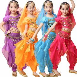 5 pieces Sequined Girls Belly Dance Costume Bollywood Indian dancing Dress Dancing For Girls Ballroom Performance dancing Outfits 90cm-160cm