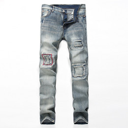 Patch patch bon marché en Ligne-Vente en gros-custom new design fashion broken hole patch jeans homme lavé rasé jeans pour hommes cheap china destroy jeans
