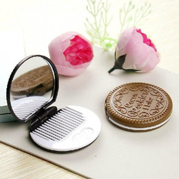 Makeup Mirror With Comb Chocolate Biscuit Shape Tool Pocket Mirror Home Wedding Decoration