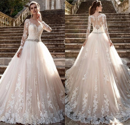 Gorgeous Court Train Ivory French Lace Full Sleeve Wedding Dress With Beading Sash Holy Wedding Corset Dress 2017 Bridal Gowns