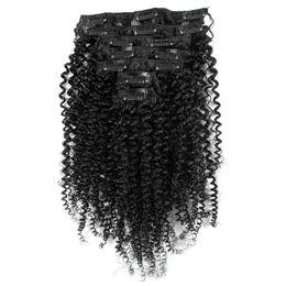 2017 18 black hair Afro-américain Afro Kinky Curl clip dans les extensions de cheveux 7PCS 16 clips perruque cheveux humains naturel noir bouclé bouclé clip dans les extensions de cheveux budget 18 black hair