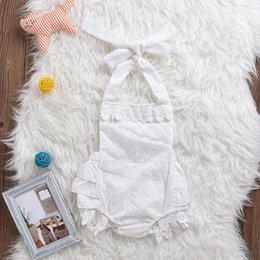 Wholesale 2017 INS baby girl kids toddler Lace romper onesies bloomers diaper covers Jumpsuits embroidered Rose floral print tassels Ruffles tutu