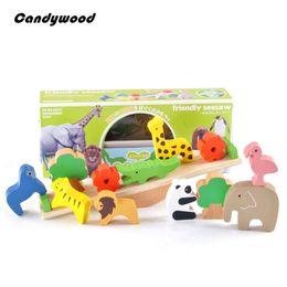 Vente en gros - Jouets en bois Forest Animal Seesaw Wood Blocks Educational Balance Toy Enfants Classic Game Toy Gift For Kids à partir de classique pour les jeux d'enfants fabricateur
