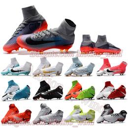 High Ankle Football Boots For Mens CR7 Mercurial Superfly V FG Neymar NJR Phantom II III Soccer Shoes Magista Obra Soccer Cleats