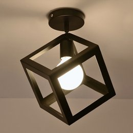 Wholesale Ceiling Lights Cube - New Designed Wholesale Industrial Vintage Ceiling Light 1 Light Style Cube Metal Shade Art Painted Finished Fixture Christmas Decoration