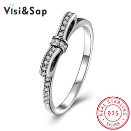 Visisap Bow knot ring 100% Pure 925 Sterling silver classic vintage rings bijoux fine jewelry wedding Women bijoux VSVR155