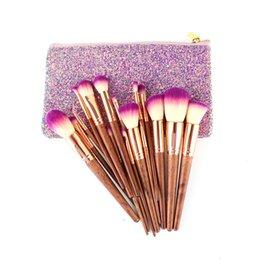 Mybasy 17pcs Mahogany Handle Makeup Brushes Set Luxury Powder Foundation Blush Lip Brush Cosmetics With Glitter Bag