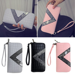 "Portefeuille double portefeuille à vendre-Manka Vesa Big Capacity Ladies Long Purses Haute Qualité Patent PU Leather Women Wallets Luxury Double Zipper Day Clutch ""V"""