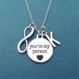 12pcs lot Personalized Letter Initial Infinity Heart You're my person Necklace Youre my person Grey's Anatomy