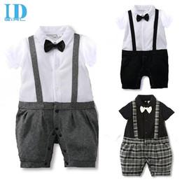 IDGIRL Baby Gentleman Suit Boys Romper Bow Tie Suits 2016 New Spring Summer Jumpsuit Newborn Costume Infant Clothes Roupas JY0224