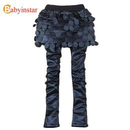 Polainas de la falda caliente en Línea-Hot Sale Invierno Niños Calientes Leggings Para Niñas Pu Falda Leggings Espesar Chicas Pantalones Bebé Cuero Faldas Pantalones Niños Pantalones