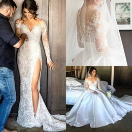 Wholesale 2017 New Split Lace Steven Khalil Wedding Dresses With Detachable Skirt Sheer Neck Long Sleeves Sheath High Slit Overskirts Bridal Gown