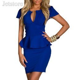 2017 bleu peplum robe noire Grossiste de qualité supérieure M L XL XXL Femmes Lady Sexy Mode U-cou OL Peplum Robe Bodycon Robes Noir Bleu Rose Blanc 28 8945 bleu peplum robe noire à vendre