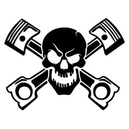 windows racing Promotion Piston Skull Sticker Vinyl Decal Car Window Cross Bones Jolly Pirate Race Racing Accessoires pour moto JDM