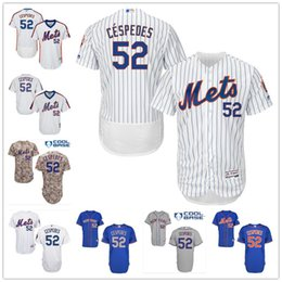 Wholesale New York Mets Yoenis Cespedes White Pinstripe Pull Down Blue Gray Camo NY MLB Baseball Jerseys Sale From China Top Quality