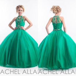 Rachel Allan 2016 Glitz Emerald Green Girls Pageant Dresses Halter High Neck Tulle Beaded Crystals Kids Birthday Prom Gowns