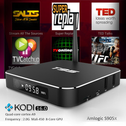 Wholesale Genuine Metal Case Android6 Amlogic S905X T95 Android Quad Core Box Wifi KODI ADD ONS Pre installed Streaming Player vs TX3 PRO T95X