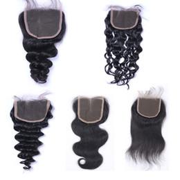 Resika Brazilian Curly Lace Closure 4x4 Bleached Knots Virgin Brazilian Peruvian Malaysian Deep Wave Human Hair Body Wave Straight Optional