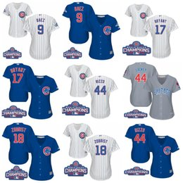 Wholesale 2016 World Series Champions patch Chicago Cubs Womens Javier Baez Kris Bryant Anthony Rizzo Ben Zobrist Authentic Baseball Jerseys