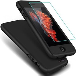 Wholesale 360 Degree All Around Full Body Coverage Protection Dual Layer Hard Slim Grip Case Tempered Glass For iPhone S quot s Plus