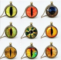 Wholesale 9 style dragon eye pendant necklace glass cabochon cat eye necklaces art picture chain necklaces jewelry women gift fth