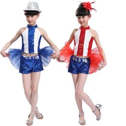 Children's Ballroom Dance Performance TOPS+Pants Girls Jazz Modern Dancing Costumes dress Kids hip hop Tap Sequined dance dress